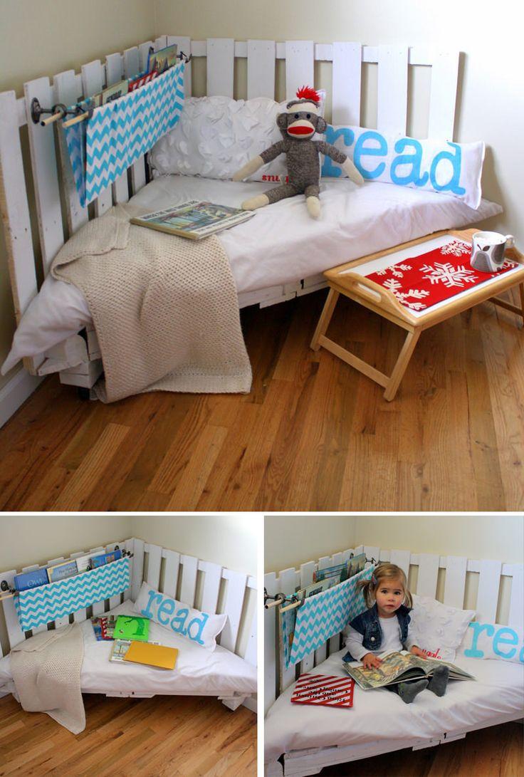 Rinc n de lectura infantil hecho con un pal reciclado for Reciclar una cama de madera