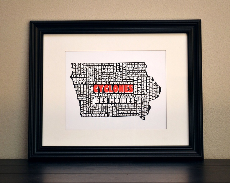 IOWA CYCLONES Collage Print - Iowa State University (Customize or Choose Your Own State). $12.50, via Etsy.