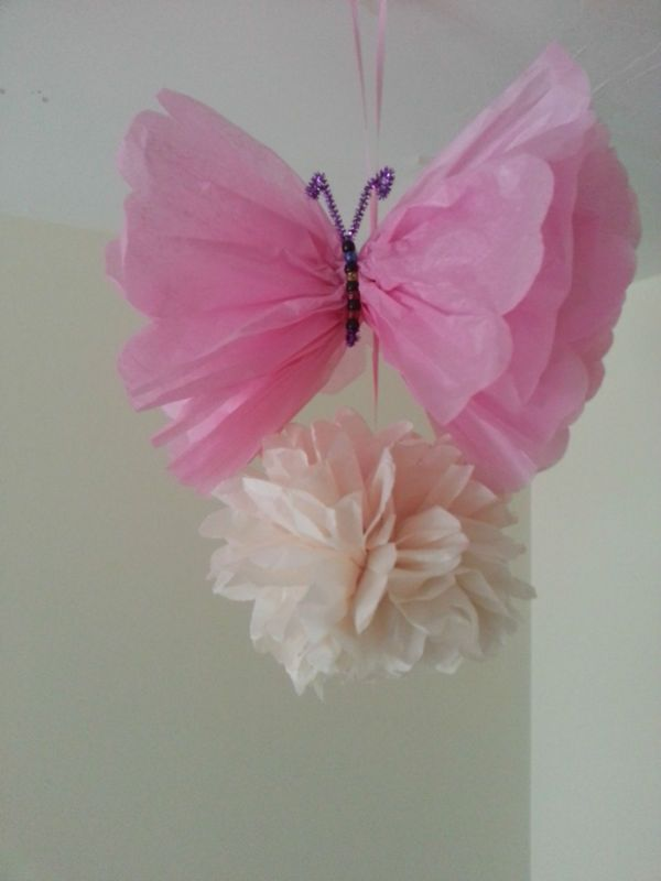 Wedding Party Baby Shower Butterfly Decorations TISSUE PAPER POMPOMS Garland