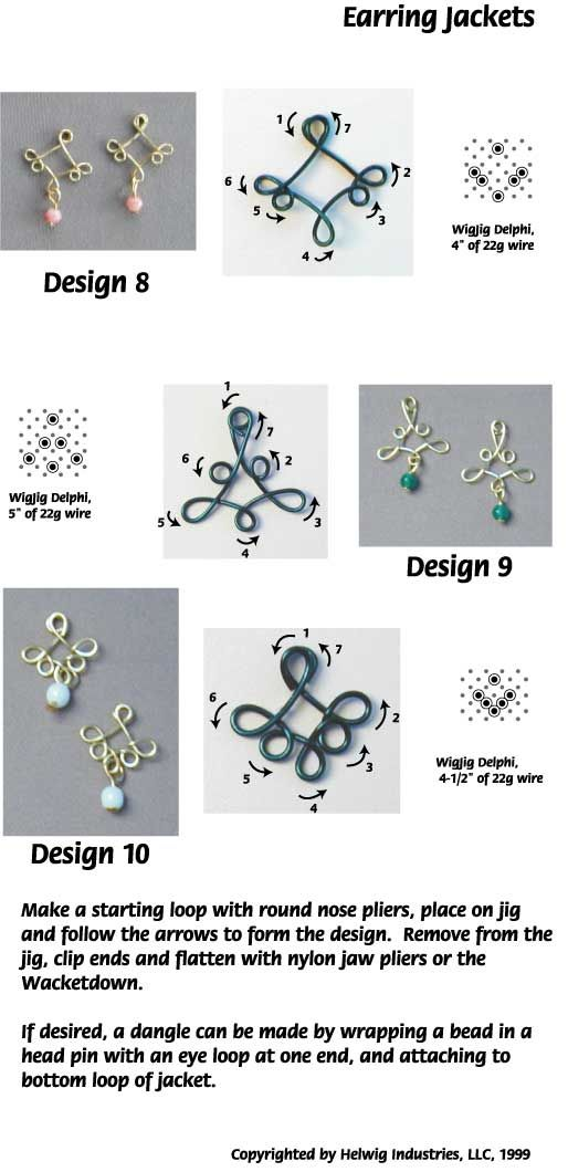 Wire and Beads Earring Jackets made with WigJig jewelry making tools and jewelry supplies.