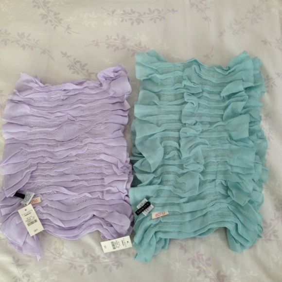 Echo scarves Echo scarves: 1 lavender, 1 pale sea foam; very soft, ruffled, acrylic/spandex, never been used, smoke free home Echo Accessories Scarves & Wraps