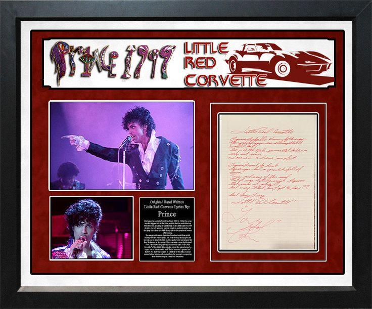 "Prince ""Little Red Corvette"" Hand Written Lyrics."
