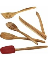 Cucina Tools 5-Piece Wooden Tool Set, Red, This rustic, modern kitchen tool set features beautiful acacia wood from head to handle By Rachael Ray