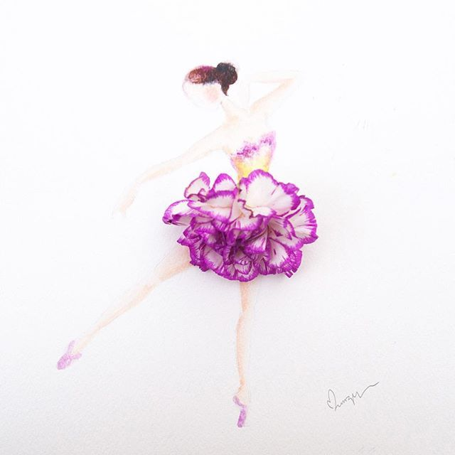 Ballet dancer made of carnation. I will be creating a series of ballet dancers this month. Talk about revising anatomy drawing! Any suggestion what flower shall I pick? #instaartmovement