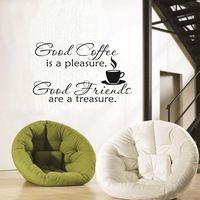 bom café bom amigo citação vinil adesivo removível casa adesivos de parede arte decoração bar cozinha