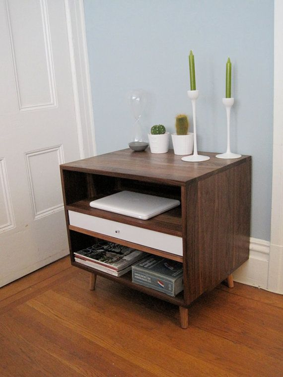 I WANT TWO OF THESE SOOO BAD.  Mid Centeury Solid Walnut Bedside Storage Cabintet With Drawer