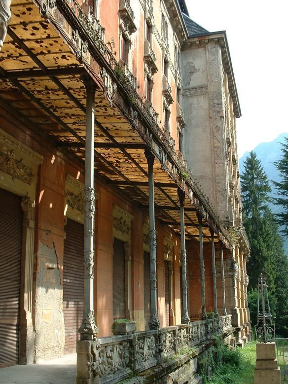 Old Grand Hotel in San Pellegrino, Italy - The superb building is expensive to maintain and devoid of some fundamental elements that over the decades have come to constitute first class hotels. The cost of adapting new requirements are huge so  interest slowly fades. In 1979, after a long period of slow agony, the Grand Hotel closes its doors.