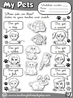 My Pets - Worksheet 4 (B&W version)