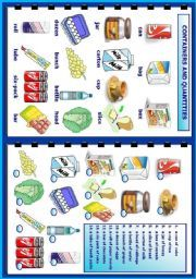 English Worksheet Containers And Quantities
