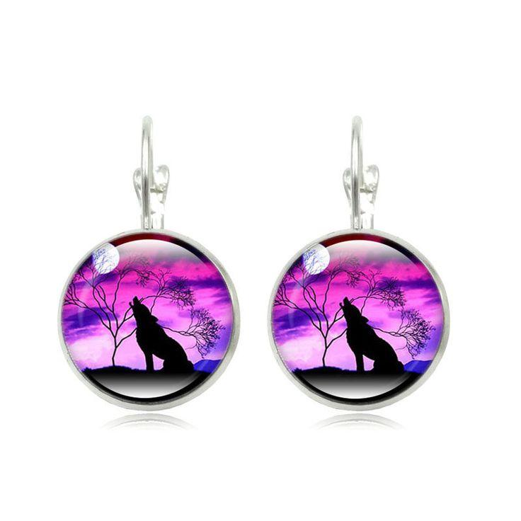 Mode Stud Earrings Melolong Serigala Bulan Art Kaca Brincos Perola Cabachon Bezel Perak Disepuh Wanita Earrings Perhiasan Aksesoris