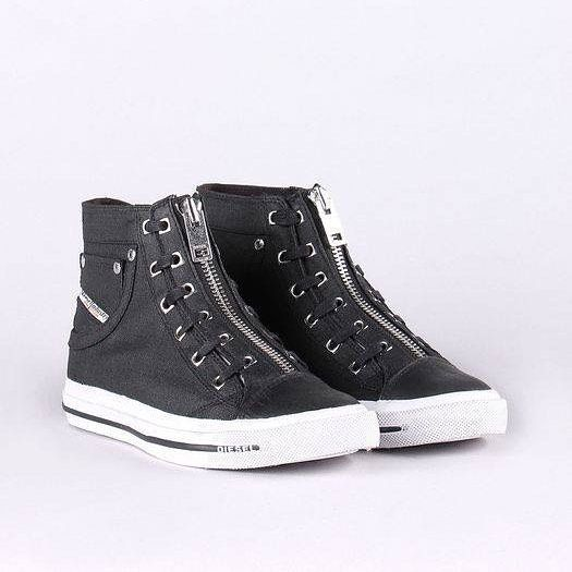 Sleek and streamlined, these coated denim high-top sneakers from Diesel are detailed with laced sides and a zipped front  Shop at Lolita in store and online