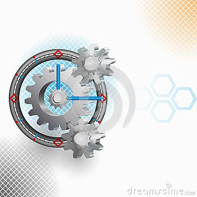 Abstract Clock mechanism with squares backdrop