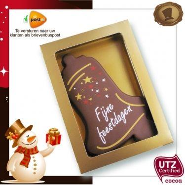 Chocolade Kerstklok standaard / 150 gram. Smaak / Melk of Pure chocolade  Verpakking kleur matgoud. Te bestellen vanaf 20 stuks. #chocolade #kerst #geschenk