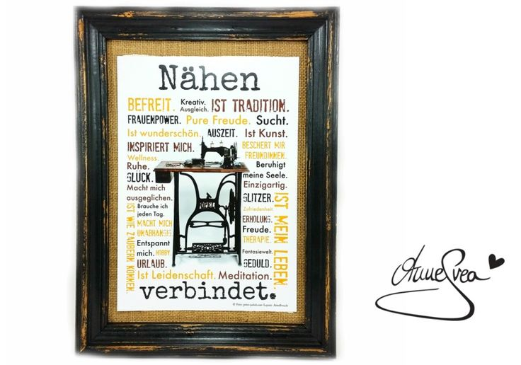 Nähen verbindet. Druck Poster Nähmaschine AnneSvea www.annesvea.de