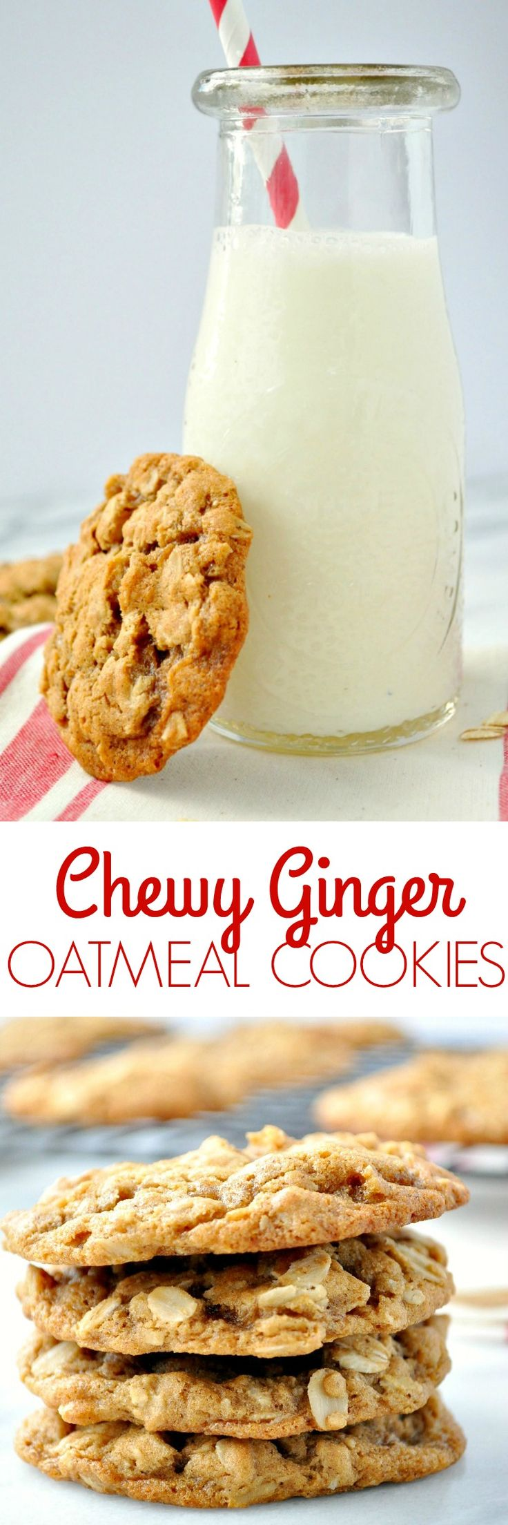 Chewy Ginger Oatmeal Cookies
