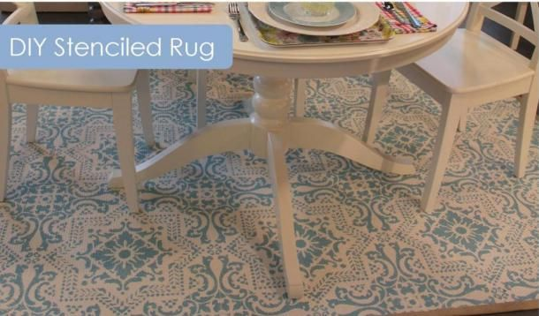 How to transform a cheap sisal rug with paint and our Lisboa tile stencil. Gorgeous job by Sarah Gunn!