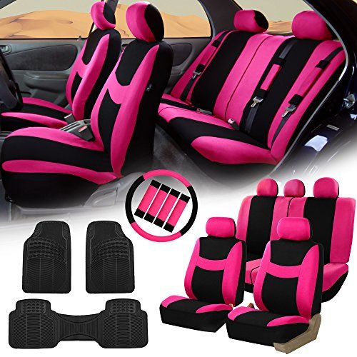 FH Group Purple Black Car Seat Covers For Auto W Steering Cover Belt Pads Floor Mat