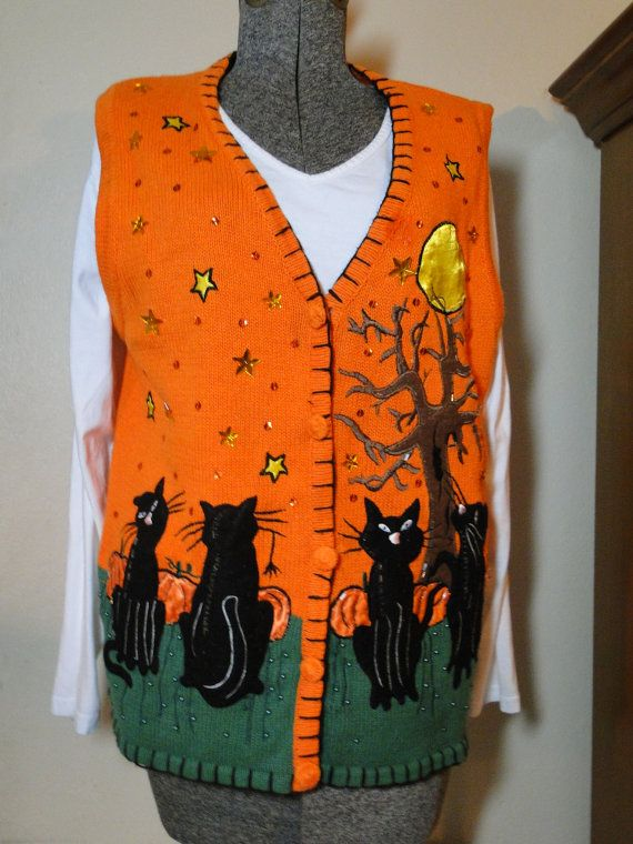 Ugly Halloween Sweater Vest Cheap  Jumper  by ABetterSweaterShop, $18.99