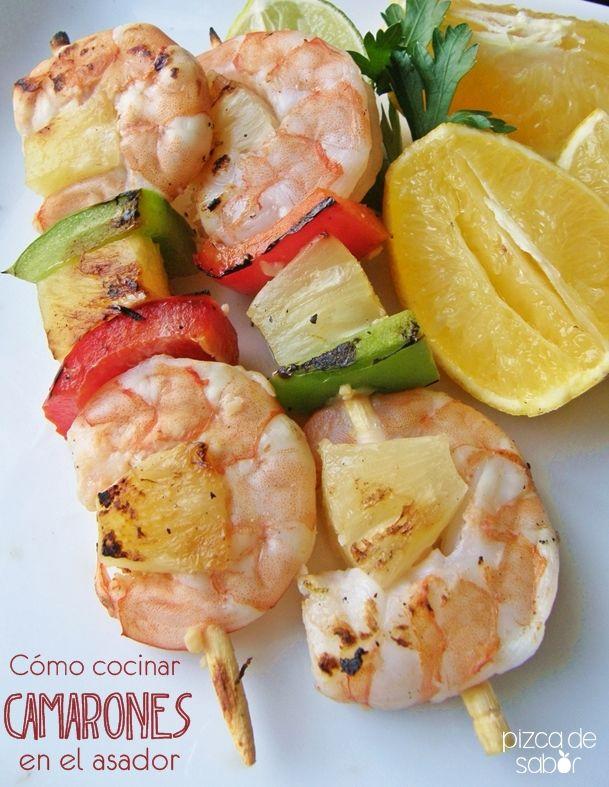 Cómo cocinar camarones a la parrilla www.pizcadesabor.com