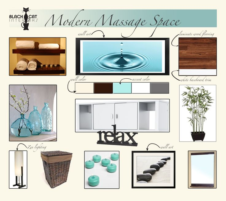 Interior Design Concept Board By Black Cat Interiors For A Modern Massage Room