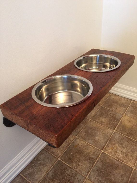 Floating Dog Dish /reclaimed barn wood / Up cycle / metal piping/ pets / spoiled your pet/ pampered pets/ stand up feeder