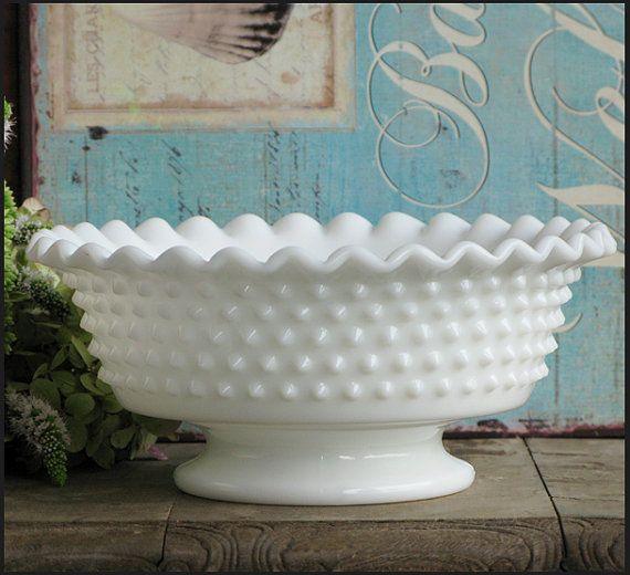 Vintage Milk Glass Hobnail Compote by by ShiftingYears on Etsy