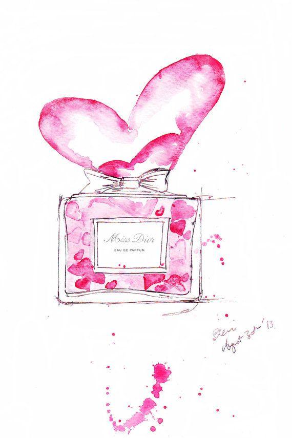 Watercolour Fashion illustration Titled In Love por FallintoLondon