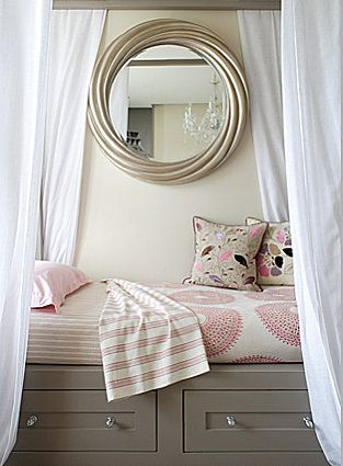Cute bed idea with the curtains and mirror... maybe a future idea for miss mae!