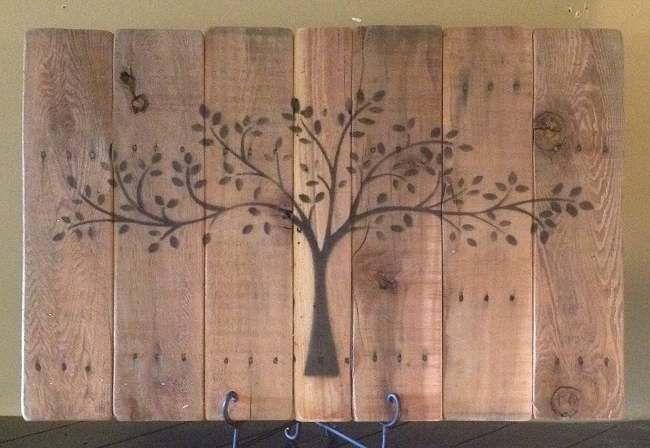 Beschilderd wandbord van pallets. Zelf een #wandbord maken met een boom van #steigerhout