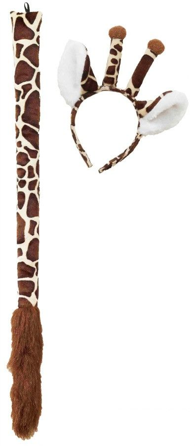 Adult Giraffe Ears and Tail Animal Costume Accessory Set
