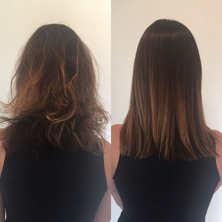 Color, brazillian blowout, and haircut by Annji. Great transformation from rough to smooth!