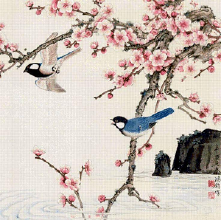 Схема вышивки «цветущая сакура