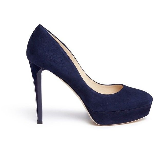 Jimmy Choo 'Alex' acetate heel suede platform pumps ($730) ❤ liked on Polyvore featuring shoes, pumps, blue shoes, blue, round toe pumps, high heeled footwear, platform pumps, blue platform pumps and high heel shoes