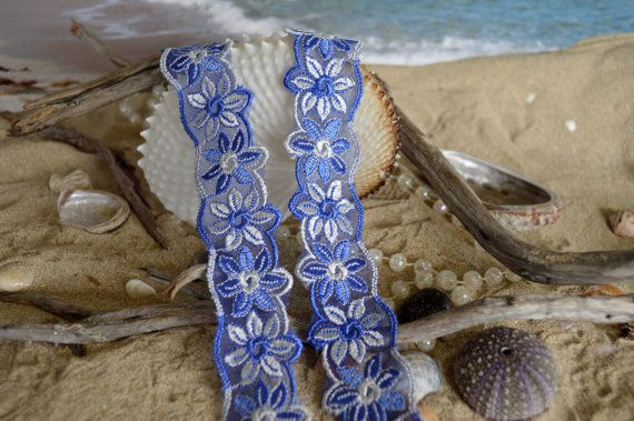 blue and white lace 3.5cm wide embroidered by TheQuiltedCheese