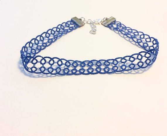 Blue Lace Choker Blue Choker Blue Necklace Lace Necklace