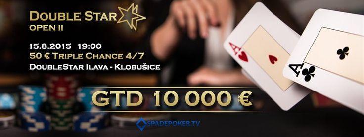 Pozývame Vás na pokrový turnaj DoubleStar OPEN II s garanciou 10 000€, 50€ Triple Chance (10€ fee) 4/7, ktorý sa uskutoční 15.augusta 2015 v kaštieli – Klobušice.