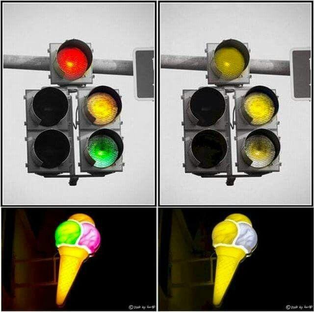 PRUEBA DE DALTONISMO. En la izquierda una imagen normal y en la derecha una imagen como la que percibe un daltónico. Si ambas las ves iguales, eres daltónico.