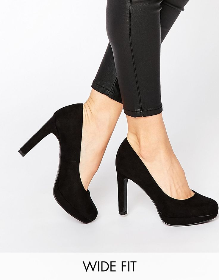 shop new look wide fit heeled court shoe at asos.