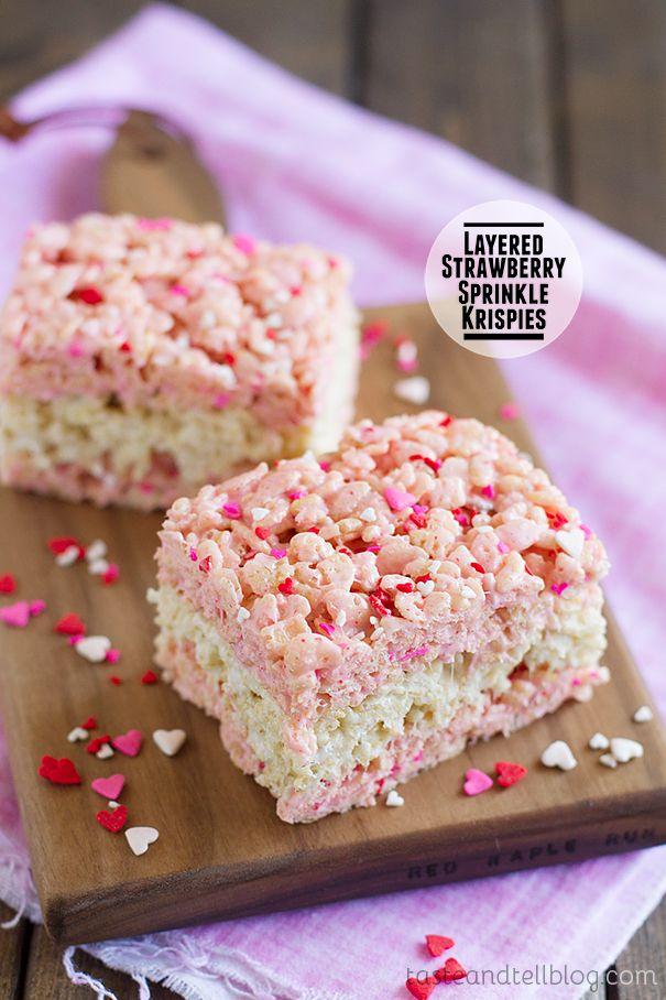 Layered Strawberry Sprinkle Krispies the perfect valentine dessert treat.
