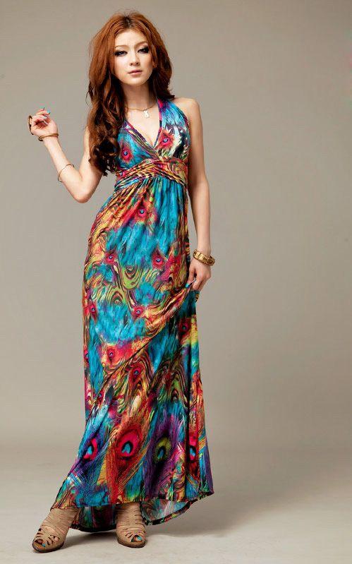 Wholesale Alluring V-Neckline Peacock Print Sleeveless Maxi Dress For Women