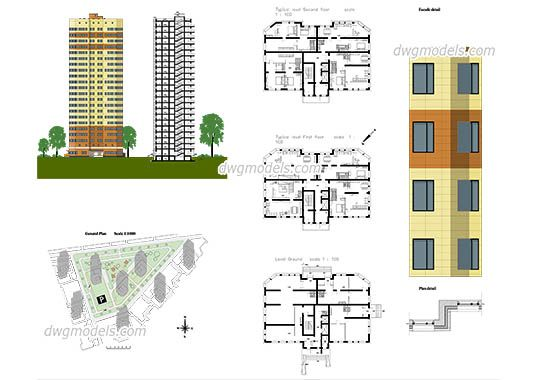 Apartment Plans dwg, cad file download free.