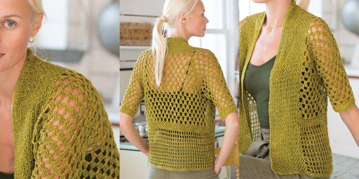 Жакет оливковый крючком Vogue Knitting Spring Summer 2017