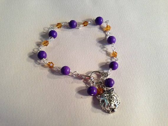 Tiger Bracelet LSU College Purple Gold Jewelry Jewellery by cdjali, $16.00