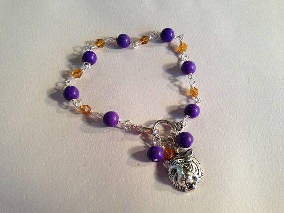 Tiger Bracelet LSU College Purple Gold Jewelry Jewellery by cdjali, $16.00