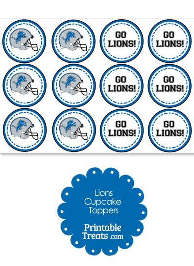 Detroit Lions Cupcake Toppers from PrintableTreats.com