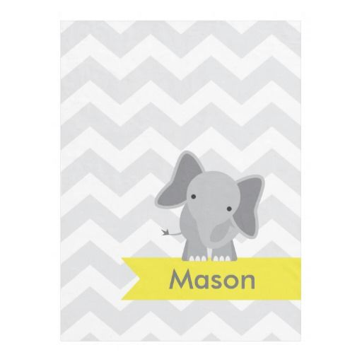 Personalized Gray Yellow Chevron Elephant