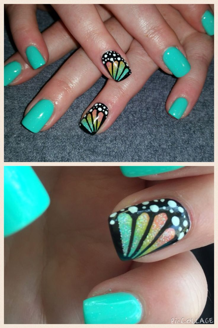 Butterfly wing. Love these nails!! Summer, spring. Bright colors. Fun amazing butterflies