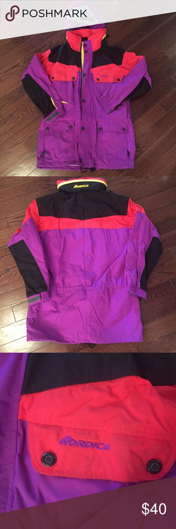 """Vintage Nordica ski shell Nordica ski and snowboard shell in red, yellow, black and purple. Drawcord at waist, hits below hip to keep you warm. Tons of zip and snap pockets. Grey mesh and nylon lining. Size is men's medium, fits like a women's XL with plenty of space underneath for a sweater and fleece. 32"""" shoulder to hem, 22"""" side to side at waist, 22"""" sleeve length. Good used condition with some fraying on edges (not noticeable, see third photo) and some dust from storage, price reflects…"""