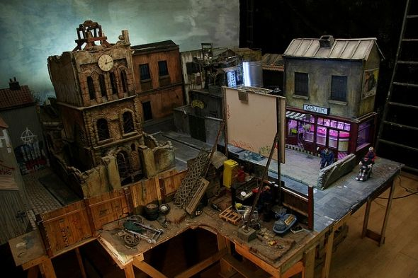 Stop motion animation town set model house and models these are