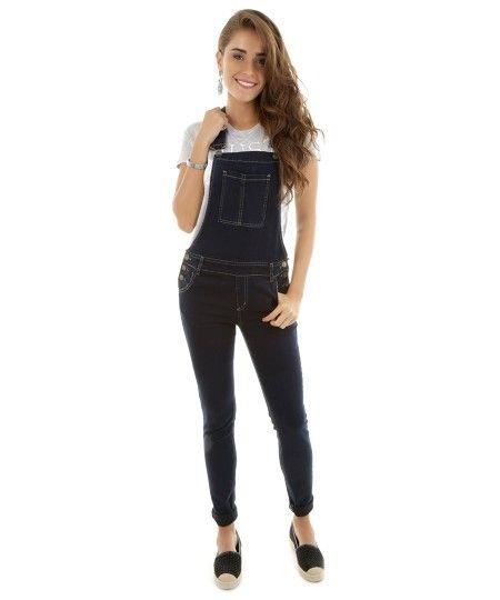 25 melhores ideias sobre jeans azul escuro no pinterest for Jardineira masculina c a